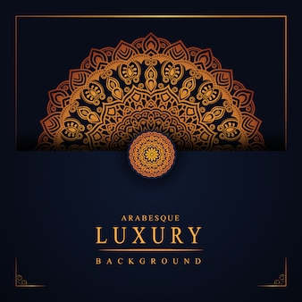 Luksusowy mandali tło z złotą arabeskową dekoracją