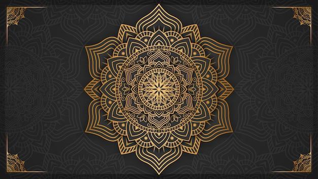 Luksusowy mandali tło z złotą dekoracją