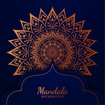 Luksusowy mandali tło z złotym arabeska wzorem arabskim islamskim wschodu stylem
