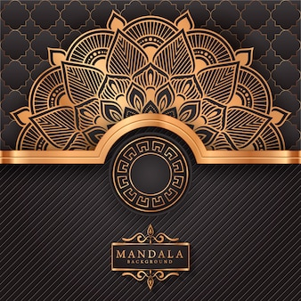 Luksusowy mandali tło z złotym arabeska wzorem