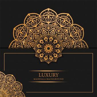 Luksusowy mandali tło z złotym arabesku wzoru arabskim islamskim projektem