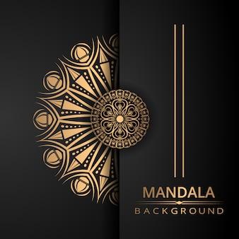 Luksusowy mandali tło z złotym stylu arabeska