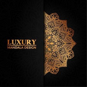 Luksusowy mandali wektor ręcznie rysowane okrągły element geometryczny dla henny, mehndi, tatuaż, ozdoba, tekstylne, wzór, tło zaproszenie