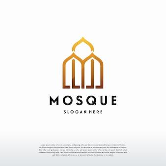 Luksusowy meczet logo szablon projekt wektor, islamski szablon logo