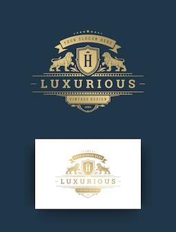 Luksusowy monogram logo szablon projektu ilustracji wektorowych.