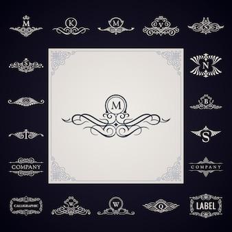 Luksusowy monogram logo zestaw ornament symbolu