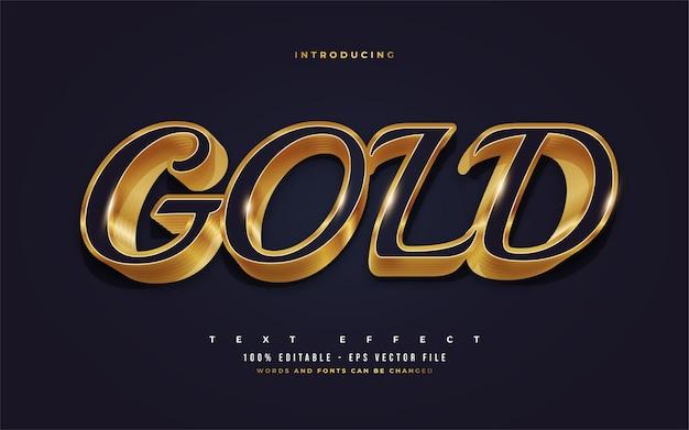 Luksusowy niebieski i złoty styl tekstu z wytłoczonym efektem 3d. edytowalne efekty stylu tekstu