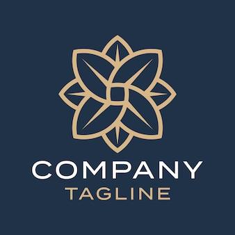 Luksusowy, nowoczesny, czysty kwiat płatki projektowania logo złoty