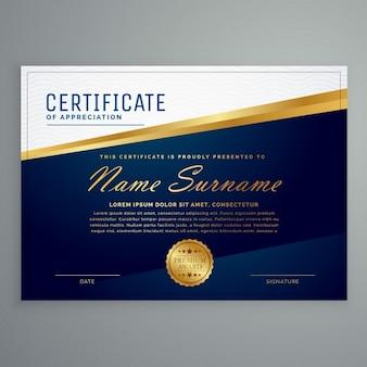 Luksusowy nowoczesny szablon certyfikatu w kolorze niebieskim i złotym kolorze