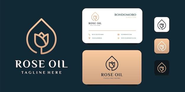 Luksusowy olej różany logo i szablon wizytówki. logo może być używane jako ikona, marka, tożsamość, kobiecość, kreatywność, złoto i firma