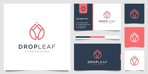 Luksusowy olej z logo beauty drop leaf z koncepcją wkładki do liści. projekt logo i wizytówki.
