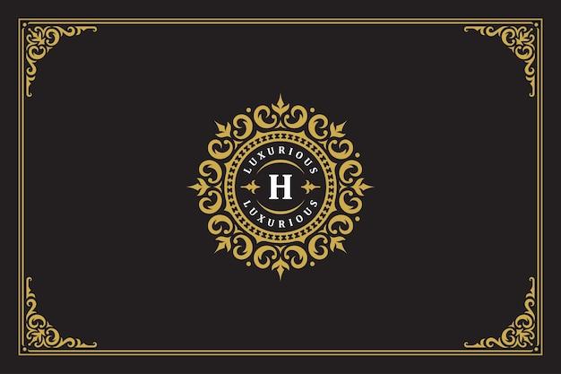 Luksusowy ornament vintage logo monogram herb szablon projektu ilustracji