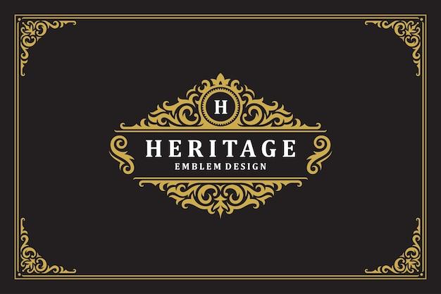 Luksusowy ornament vintage logo szablon projektu ilustracji wektorowych