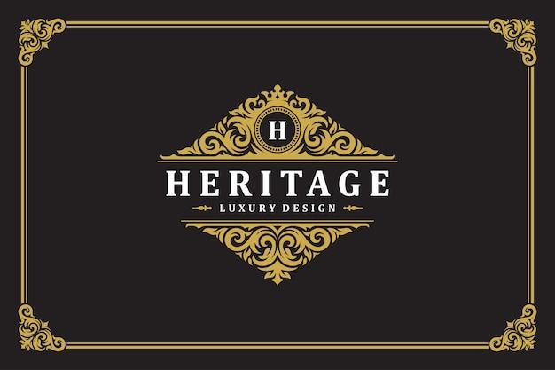 Luksusowy ornament vintage logo szablon projektu ilustracji