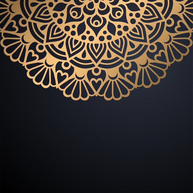 Luksusowy ozdobny mandali projekt tło w kolorze złotym wektorze