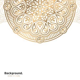 Luksusowy ozdobny mandali projekt tło w kolorze złotym