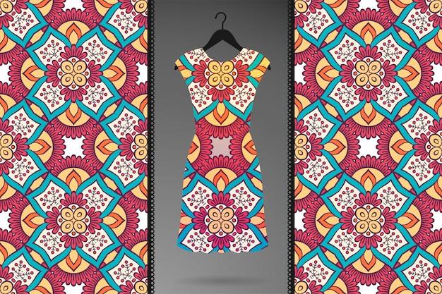 Luksusowy ozdobny mandali wzór w kolorze złotym wektorze