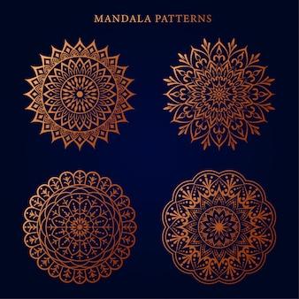 Luksusowy ozdobny wzór mandali w kolorze złotym