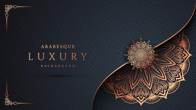 Luksusowy ozdobny wzór mandali ze złotą arabeską i kwiatową ramą narożną arabski islamski styl wschodni