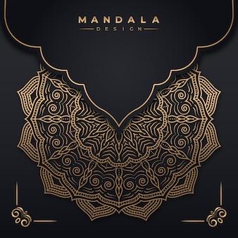 Luksusowy ozdobny wzór tła mandala w złotym kolorze premium wektorów