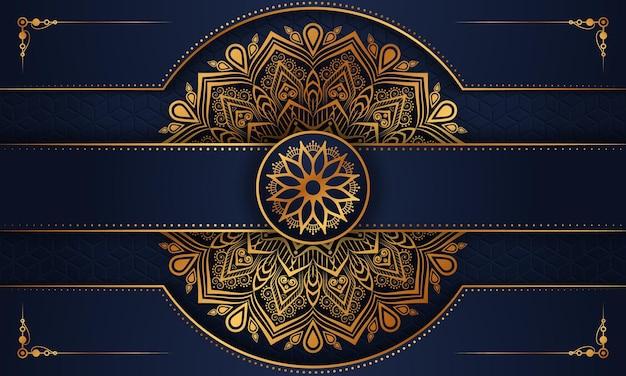Luksusowy ozdobny wzór tła mandala w złotym wzór arabeski premium wektorów