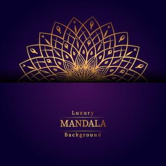 Luksusowy ozdobnych mandali wzór tła w kolorze złota, luksusowe mandali tło na zaproszenie na ślub, okładka książki