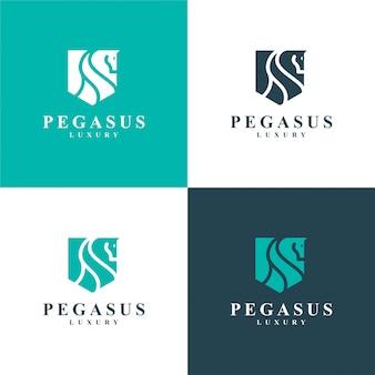 Luksusowy pegaz. minimalistyczne logo konia