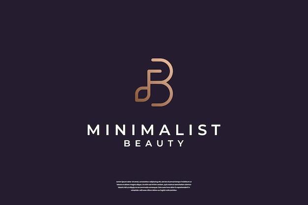 Luksusowy początkowy projekt logo b i liścia z prostą linią