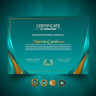 Luksusowy profesjonalny projekt szablonu certyfikatu