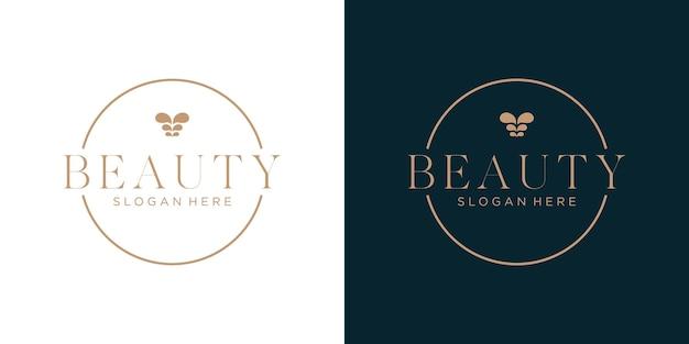Luksusowy projekt logo kwiatu linii sztuki w stylu koła