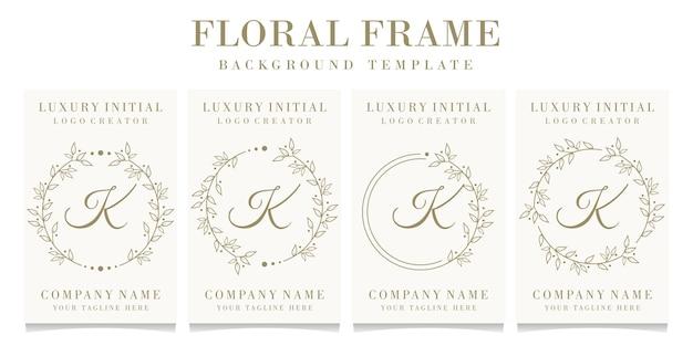 Luksusowy projekt logo litera k z szablonem tła ramki kwiatowy