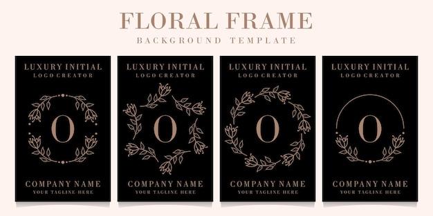 Luksusowy projekt logo litera o z szablonem tła ramki kwiatowy