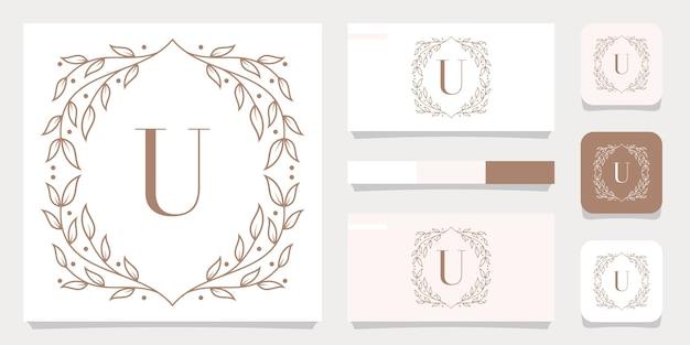 Luksusowy projekt logo litera u z szablonem kwiatowy ramki, projekt wizytówki