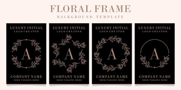 Luksusowy projekt logo litery a z szablonu tła ramki kwiatowy