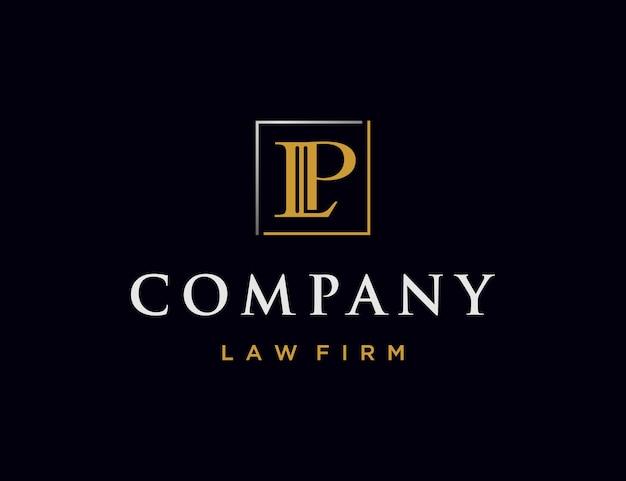 Luksusowy projekt logo litery l i p z filarem kancelarii prawnej