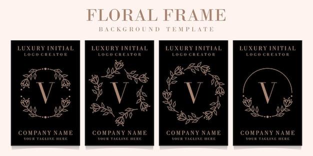 Luksusowy projekt logo litery v z szablonem tła ramki kwiatowy