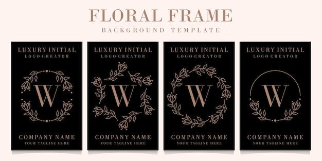 Luksusowy projekt logo litery w z szablonem tła ramki kwiatowy