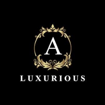 Luksusowy projekt logo z monogramem litera a, złoty kolor, luksusowy rozkwit