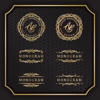 Luksusowy projekt monogram z eleganckim czarnym tłem