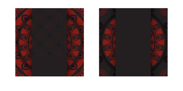 Luksusowy projekt pocztówki gotowy do druku w kolorze czarnym z czerwonymi greckimi wzorami. wektor szablon karty zaproszenie z miejscem na twój tekst i streszczenie ornament.
