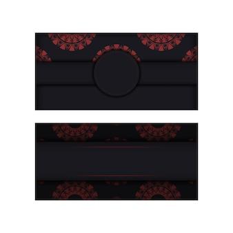 Luksusowy projekt pocztówki wektor gotowy do druku w kolorze czarnym z czerwonymi greckimi wzorami. szablon karty zaproszenie z miejscem na twój tekst i streszczenie ornament.