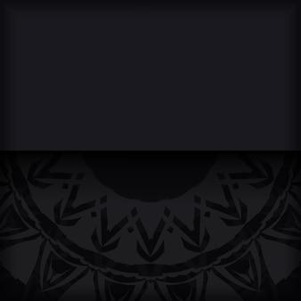 Luksusowy projekt pocztówki wektorowej w kolorze czarnym z czerwonymi greckimi wzorami. projekt karty zaproszenie z miejscem na twój tekst i streszczenie ornament.