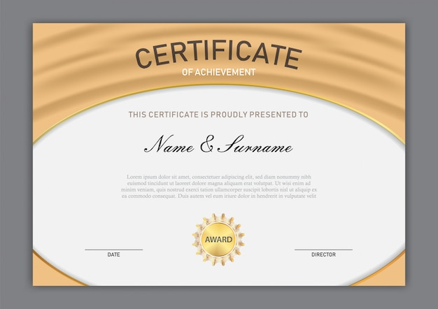 Luksusowy projekt szablonu certyfikatu z elementem tekstowym, dyplom