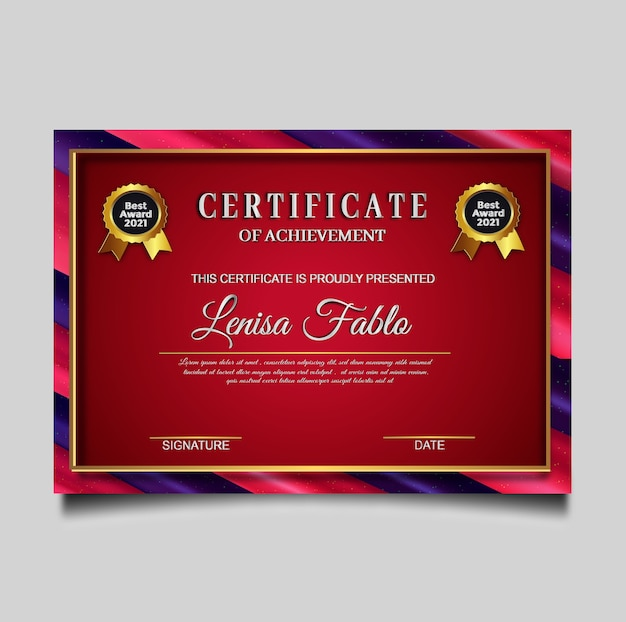 Luksusowy projekt szablonu certyfikatu