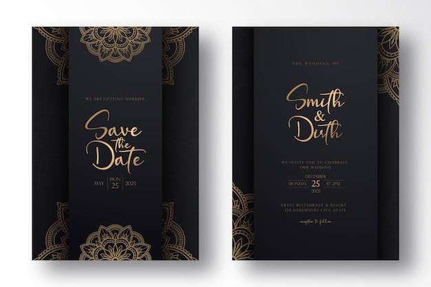 Luksusowy projekt szablonu karty ślubu z luksusową mandalą w stylu konspektu