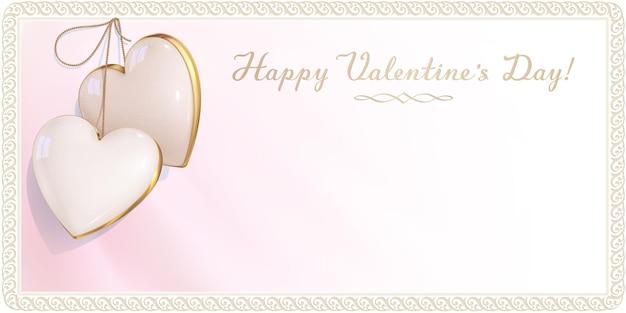 Luksusowy projekt zaproszenia na szczęśliwe walentynki, romans i ślub. różowo-biała pusta koperta jest ozdobiona dwoma serduszkami w kolorze kości słoniowej i ramką w stylu retro. 3d realistyczny wisiorek z klejnotami.
