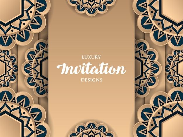 Luksusowy projekt zaproszenie ze złotym ornamentem mandali
