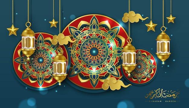 Luksusowy ramadan i szczęśliwy baner eid mubarak
