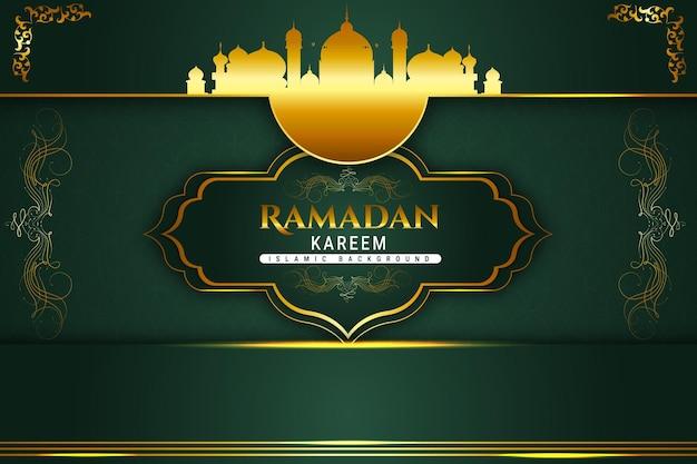 Luksusowy ramadan kareem islamski kolor tła złoty i zielony