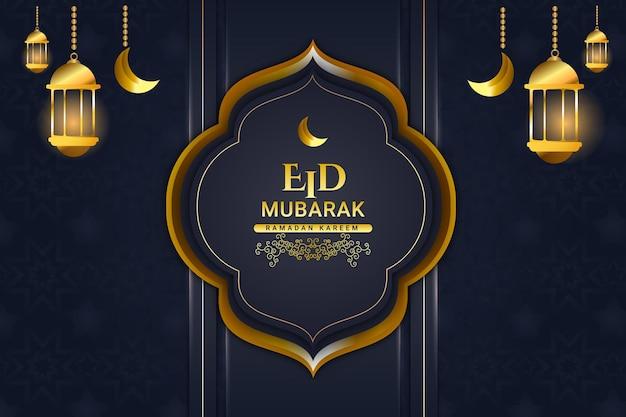 Luksusowy ramadan kareem kolor tła granatowy i złoty
